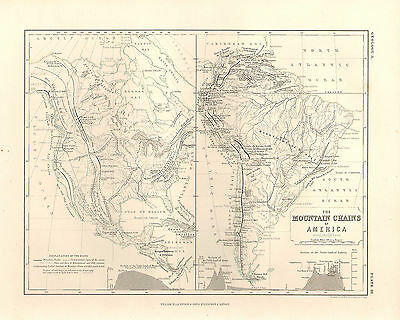 1850 Hand- Bemalt Landkarte ~ The Mountain Chains Of America