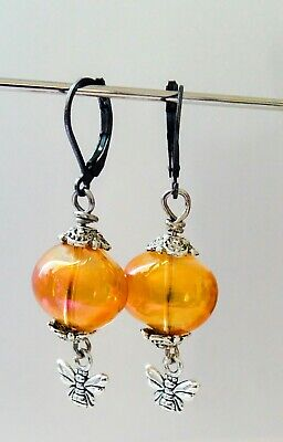 Vintage/Art Nouveau/Art Deco Style Drop Dangle Bee Earrings by craftoholictamina