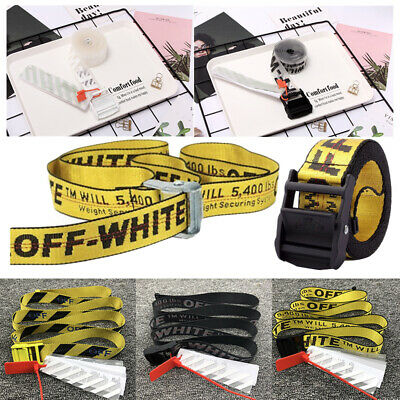 OFF White transparent belt Fashion letter belt alloy industrial Nylon Belt 200CM