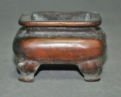 Antiques Old Chinese Buddhism Temple Pure Bronze Incense burner Censer