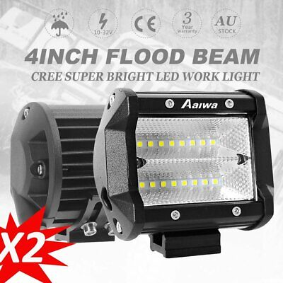 Pair 4'' CREE LED Work Light Bar Flood Beam Reverse Backup Lamp Offroad 4WD UTE