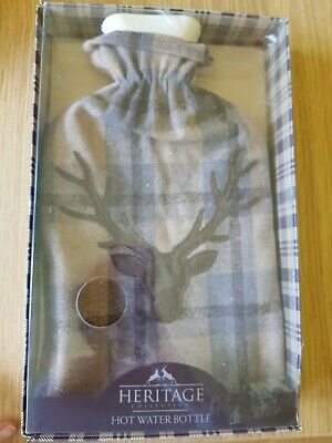 Heritage Stag Head Hot Water Bottle & Cover New Gift Box