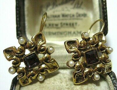 Vintage Jewellery Rococo Gold tone French Wire Hook Crystal Seed Pearl EARRINGS