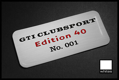2x Unique Personalised VW Golf GTI Edition 40 80x35mm Self Adhesive Domed Badges