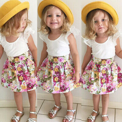 AU Infant Toddler Baby Girl Lace Tank Tops Tutu Dress Skirt Clothes Outfits Set