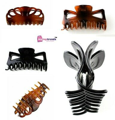 11cm Large Hair Claw Clip Clamp Set Of 2 Tort Brown Curved Teeth Cut Out Design