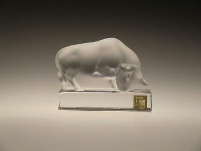 France Lalique Crystal Frosted Clear Glass Bull Paperweight Sculpture