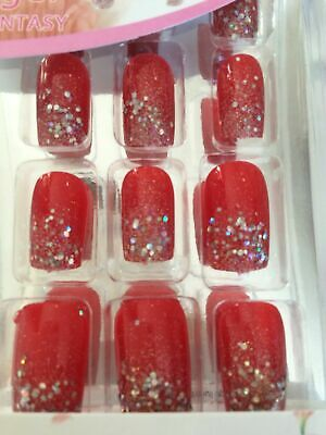 Kit Faux Ongles 12 Capsules Pret A Poser Rouge Paillettes Glitter Pro + Colle
