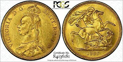 1887 Jubilee Gold  Two Pounds; Superb Mint State Example