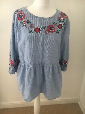 Jo Jo Maman Bebe Size Large Embroidered Cotton Top