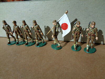 Paul Meadow Japanese ww2 infantry lot of 7 glossy 54mm, lead soldiers, w3