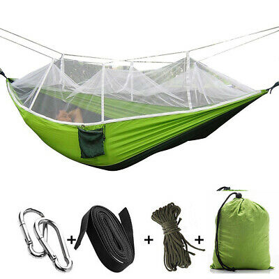 Portable Double Hammock with Mosquito Net Netting Hanging Bed Outdoor Camping D