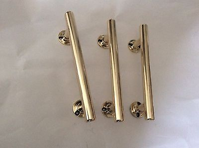 Three (3) Vintage Reclaimed Brass Shop Pub Door Pull Handles