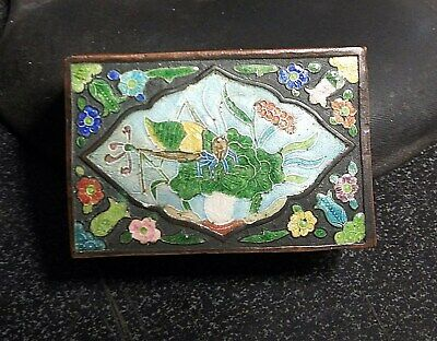 ANTIQUE ENAMEL On Copper MATCH SAFE HOLDER Japanese Chinese Insects & Flowers NR