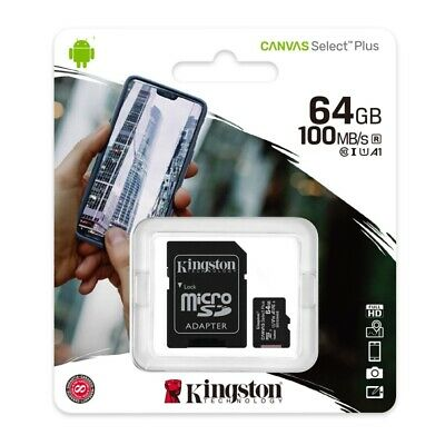 Kingston 64GB Micro SD SDXC Class10 UHS-I Tarjeta de Memoria 80MB/s + Adaptador