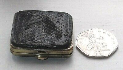 ANTIQUE VICTORIAN LEATHER TINY COIN PURSE c.1850