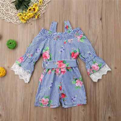 Girls Blue Stripe Floral Playsuit, New With Tags, 3-4 Years