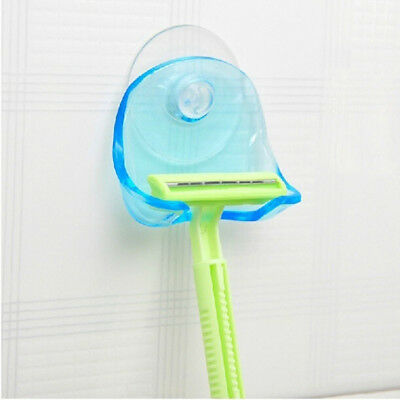 Plastic Suction Cup Razor Rack Bathroom Razor Holder Suction Cup Clear Blue