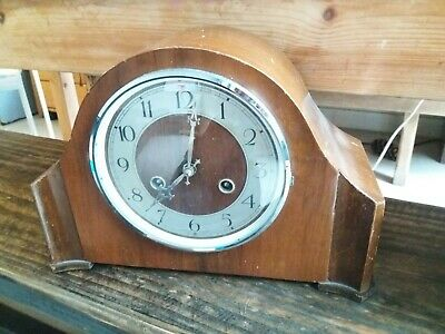 Vintage antique wooden mantle piece clock without key to wind. By ingersoll