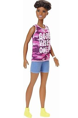 BARBIE Fashionistas Doll #128~Pink Camo 'Good Vibes' Tank. In Stock. New 2019!
