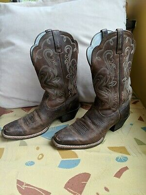 5e98b200489 ARIAT WOMENS LEGEND Rowdy Brown Leather Square Toe Cowboy Boots ...