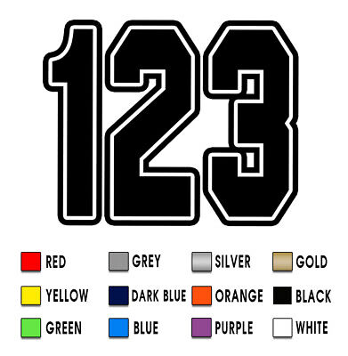 3 x Custom Race Numbers Vinyl Stickers Dirt Bike Motocross Trials Decals