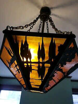 Mission,  Arts & Crafts Slag Glass hanging light fixture, early 1900s