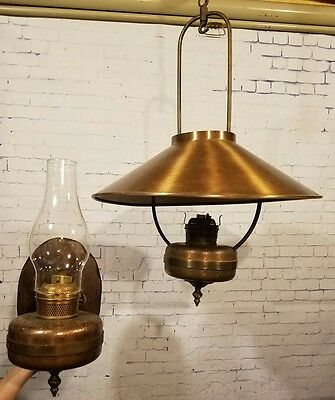 Antique Scroll Copper Matching Lights Lamp Sconce & Hanging Classic Colonial