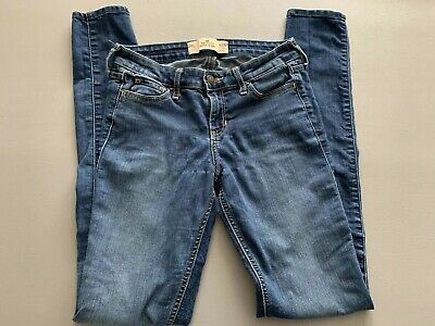 HOLLISTER Super Skinny Jeans Women's Juniors Size 0L  W24 x L33 Blue Denim