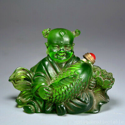 Qianlong Years Old Coloured Glaze Carve Fairchild & Fish Delicate Snuff Bottle