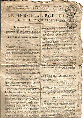 Bordeaux 1814. Le Mémorial Bordelais. Rare journal 4 pages.