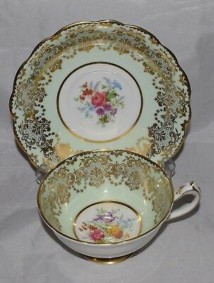 Paragon China Cup & Saucer Floral & Gold Mint Background Vintage Double Warrant