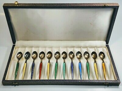 Vintage Codan Mexico Sterling Silver and Enamel Demitasse Spoons Set of 12 Box