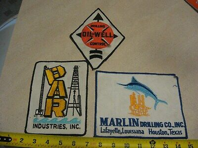 3 Different Vintage Oil Well Type Patches-Larger Back Of Jacket Size