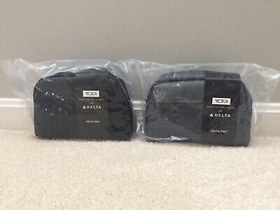 SET OF 2 TUMI DELTA ONE First Class Mini Luggage Travel SOFT CASE Amenity Kit