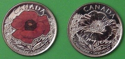 2015 Canada Paint and Regular Poppy Quarters Graded as Brilliant Uncirculated