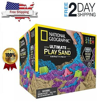 Free Shipping! 6lb National Geographic 3 Multi-Color Kinetic Sensory Sand, NEW!!
