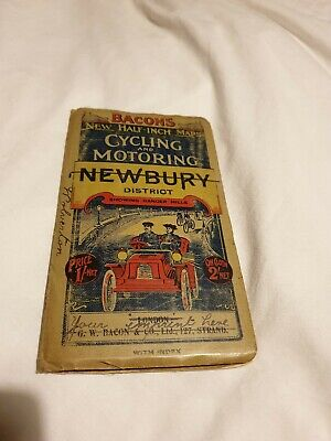 Antique & rare, early 20th Cent. Bacon's Cycling & Motoring Map of Newbury (A14)