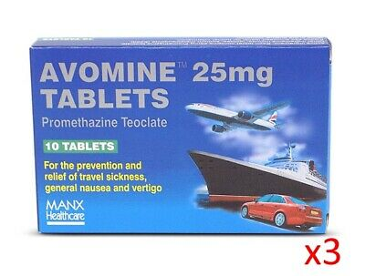 Avomine 25mg 3 pack, 30 Tablets - For travel sickness | FAST AND FREE DELIVERY
