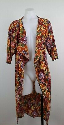 Lularoe Shirley Floral Open Front Crinkle Kimono Duster Long Cardigan Size Small