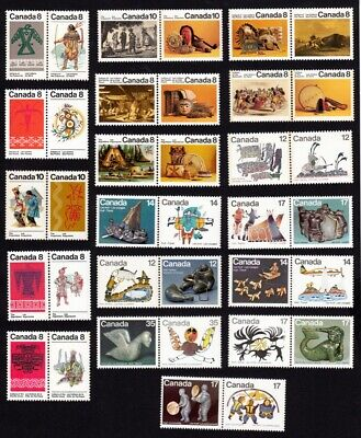 INDIANS, INUITS - VF Pairs - Canada 1972-1980 MNH-VF Full Set of 18 q09