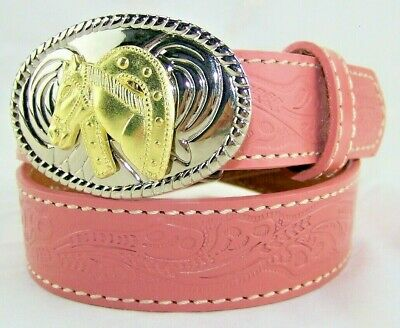 NOCONA Belt Co. N4410530 Pink Tooled Leather Western Girls Youth Cowgirl Belt 24