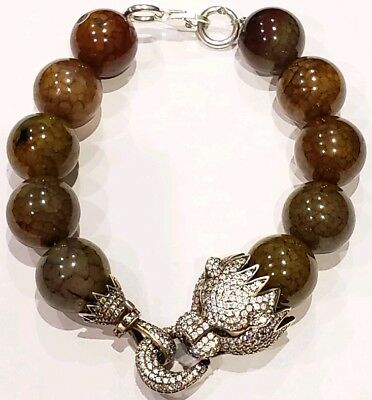 925 Sterling Silver Pantera Head with Agate Stone Beads and Rhinestones Bracelet