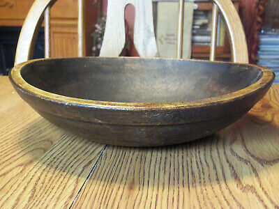 Antique Primitive Rimmed Wooden Dough Bowl Oval Hand Turned Wood Bowl 11 1/8""