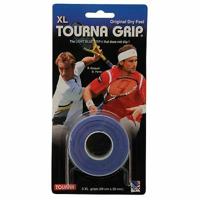 Tourna Grip Xl Original Non Slip Dry Feel Overgrip Pack Of 3 Grips Blue Rrp £12