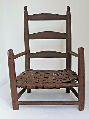 Antique Child's Early American Ladder Back and Splint Seat Chair