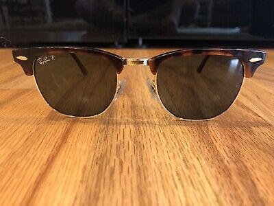 d9f650531 AUTHENTIC RAY BAN Clubmaster RB3016 990/9J Red Havana Sunglasses Grn ...