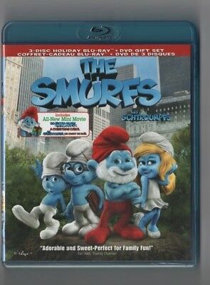 The Smurfs Bluray + DVD 2011 Holiday Pack 3 Disc Neil Patrick Harris MINT COND.!