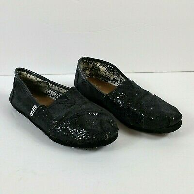 40e014b64575 Toms Girls Classic Youth Black Glitter Sparkle Slip On Shoe - Youth Size 3