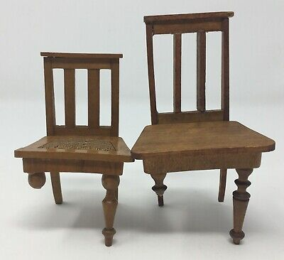 Vintage Lot Of 2 Dollhouse Miniature Wooden Chairs AS-IS Furniture